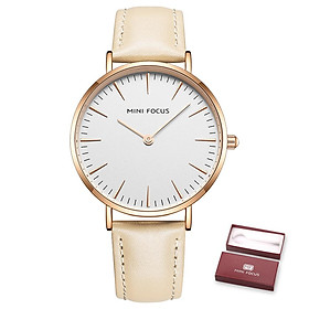 MINI FOCUS Women Quartz Watch Women's Fashion Watches with Leather Strap 3ATM Waterproof Female Wristbands for Business