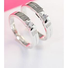 Nhẫn đôi bạc nhẫn cặp bạc đẹp đính đá ND0257
