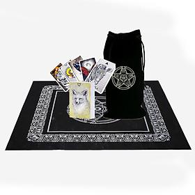Combo Bộ Bài Tarot Bói The Spirit Animal Oracle Cao Cấp Bản Đẹp và Túi Nhung Đựng Tarot và Khăn Trải Bàn Tarot