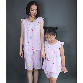 Bộ tole lanh short thoáng mát cho mẹ và bé gái