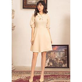 Đầm xòe nữ GUMAC thiết kế Tay Nơ Thêu Ngực Da462 xinh xắn sang trọng