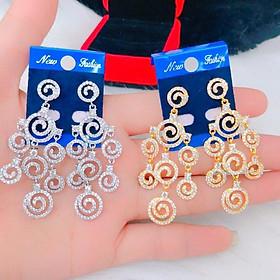 Đôi Bông Tai Mạ Vàng or Bạch  Kim ( 01 Đôi ) Đính Xoàn Mẫu 059.03.01 -  Không Đen - Không Dị Ứng