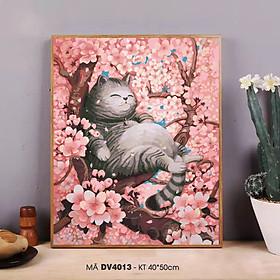 Tranh tự tô màu theo số sơn dầu số hóa mèo mập ngắm hoa anh đào DV4013