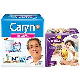 Tã Quần Caryn Siêu Thấm M7 (7 Miếng) - Tặng 1  khăn giấy Emos 100 tờ