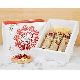 Hộp quà tặng trà hoa cao cấp - Set 7: Trà hoa bách nhật, Cúc trắng, Bách hợp đỏ