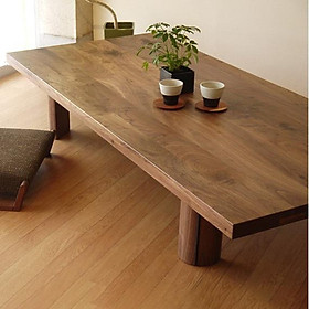 bàn ăn ngồi bệt thông minh phong cách nhật bản, gỗ nguyên tấm không sơn sang trọng, giá trị cao, thẩm mỹ cao