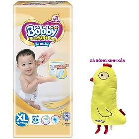 Tã Quần Cao Cấp Bobby Extra Soft Dry Thun Chân Ngăn Hằn XL46 (46 Miếng) - Tặng 1 Gà Bông Xinh Xắn