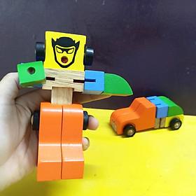 Xe biến hình robot, đồ chơi biến hình, đồ chơi lắp ghép cho bé 3 tuổi