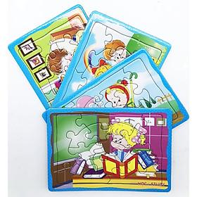 Bộ 4 tấm Tranh xếp hình A5: Chủ đề hoạt động của bé. Đồ chơi trí tuệ cho bé từ 3 tuổi. Tia Sáng Việt Nam. Chứng nhận hợp quy tên chủng loại: Xếp hình số mảnh ghép lên đến 250 mảnh. Ký hiệu kiểu loại: Xếp hình.
