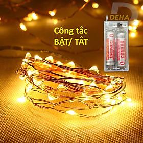 Dây đèn led đom đóm trang trí pin tiểu 10M/5M/2M/1M - Vàng nắng, nhiều màu, trắng, xanh, đỏ, dây bóng đèn fairy light cao cấp, tinh tế sang trọng decor phòng, du lịch, lều trại công tắc chuyển On/ Off - Chính hãng DEHA