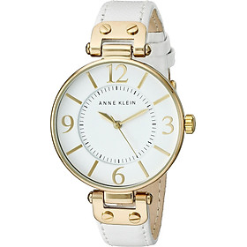 Đồng hồ nữ Đồng hồ nữ Anne Klein Women's 109168WTWT Gold-Tone and White Leather Strap Watch