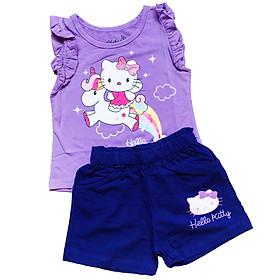 Đồ bộ thun cotton cho bé gái  mèo Hello Kitty cầu vồng/ set trang phục bé gái dễ thương 1-6T