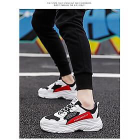 Giày Nam Thể Thao Sneaker Trắng Vải Dệt Đế Cao Su Nguyên Khối Siêu Êm Chân Phối Đen Đỏ Cực Chất Phong Cách Hàn Quốc (Hình thật) CTS-GN052-12