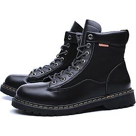 Giày bốt da nam cao cổ tăng 7cm chiều cao (Tặng 1 lót giày tăng chiều cao)