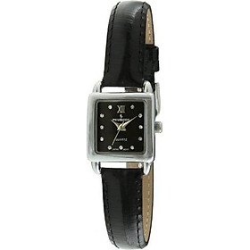 Peugeot Women's Small Square Case Crystal Marker Genuine Leather Strap Watch