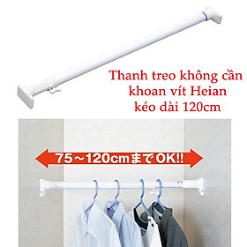 Thanh treo không cần khoan vít Heian đế vuông, 75cm kéo dài 120cm hàng Nhật Bản RTW-75