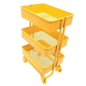 Scale Mini Metal Storage Shelf w/ 4 Wheels Dollhouse Furniture Decor Yellow