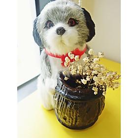 Ống Cắm Bút, Hộp Đựng Bút Trang Trí Hình Chú Chó Mèo Bông Handmade