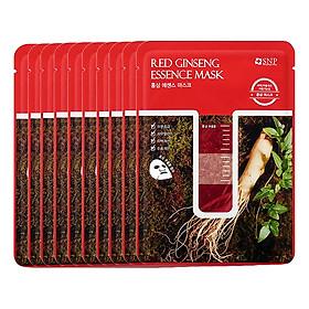 Bộ Mặt Nạ Essence Tinh Chất Hồng Sâm Dưỡng Ẩm Chuyên Sâu SNP Red Ginseng Essence Mask (10 Miếng)
