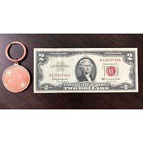 Tờ 2 USD 1963, tiền cổ Mỹ sưu tầm (kèm móc khóa Bitcoin)