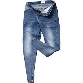 Quần jeans nam co dãn , quần bò nam kiểu trơn và xước thiết kế trẻ trung đơn điệu phá cách gồm 5 kích thước (28-32) Julido mẫu QJN099703 - Màu xanh phối bạc