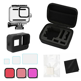 Camera Accessories Kit Compatible with GoPro Hero 8 with Storage Case Waterproof Housing Screen Protectors Silicone
