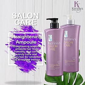 Bộ dầu gội/xả mềm mượt Kerasys Salon Care Straightening Hàn Quốc 600ml - Dành cho tóc thẳng tặng kèm móc khoá-2