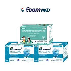 Combo 3 Hộp Khẩu Trang Y tế EcomMed dành cho Gia Đình (2 Hộp 3 Lớp, 1 Hộp Trẻ Em, 50 Cái/Hộp)