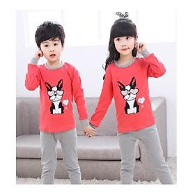 Sét quần áo thu đông cho bé trai và bé gái in hình thỏ đỏ đáng yêu