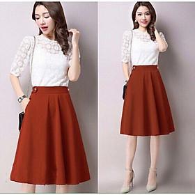 Váy xòe dài qua gối phối nút lưng cách điệu, thích hợp mặc đi làm, dạo phố - có 4 màu, nhiều size, form dáng chuẩn