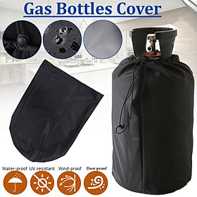 Black Waterproof Cover Protective Dust-proof Cover for Gas Bottles Barbecue Home