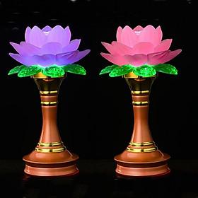 Cặp 2 đèn thờ hoa sen đổi màu