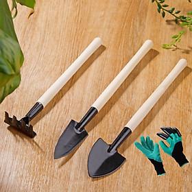 Combo bộ 3 dụng cụ làm vườn và 1 đôi găng tay làm vườn