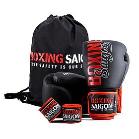 Combo Găng Tay Boxing Saigon + Băng Tay 4m5 (tặng túi rút) -  Đen đỏ