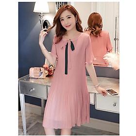 Đầm Bầu Suông Xếp Ly Nhẹ Tay Loe