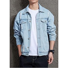 Áo khoác jeans rách nam bò sáng AJ05