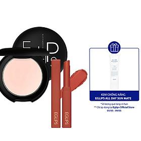 Combo Phấn phủ dạng nén Eglips Blur Powder Pact +Son Muse in Velvet Lipstick màu 04 Over Chili tặng 1 kem chống nắng Sunmate