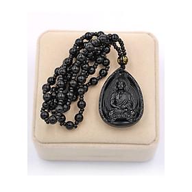Vòng cổ Dược Sư Lưu Ly Quang Vương Phật thạch anh đen 4 cm DHEDS9 hộp nhung