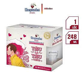 """Hộp Love Is Love 6 Chai Hoegaarden Rosee (248ml/ Chai) - Tặng Kèm Ly """"Thả Thính"""" Hoegaarden (Giao Ngẫu Nhiên)"""