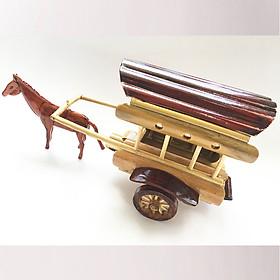Mô Hình Xe Ngựa Tre Vàng Handmade