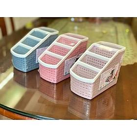 Khay nhựa đan để bàn nhiều ngăn đa năng Đựng Bút Cọ Trang Điểm Đồ Để Bàn Tiện Dụng nhiều màu