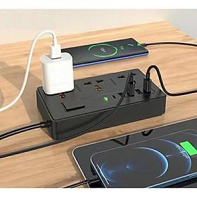 Ổ điện cao cấp đa năng, thông minh 4 cổng USB, 3 cổng AC 220V OLAPLE an toàn chống giật, chống cháy nổ an toàn - Hàng nhập khẩu