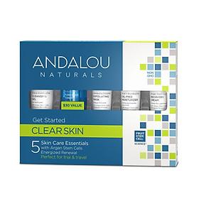 Bộ Kit 5 Bước Chăm Sóc Da Dầu Mini Andalou Naturals Clear Skin Get Started Kit