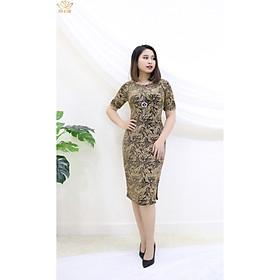 Đầm Thiết kế Đầm xòe Đầm thời trang công sở Đầm trung niên thương hiệu TTV261 vàng - Đầm ôm nhung xẻ tà CD