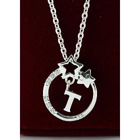 Dây chuyền bạc nữ mặt trăng sao khắc tên chữ T DCN0286
