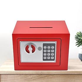 Két sắt mini điện tử 17E màu đỏ có rãnh 23x17x17cm tiện dụng, tủ sắt tiết kiệm mini