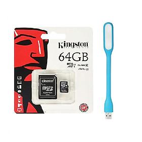 Thẻ Nhớ Micro SD Kingston 64GB Class 10 + Adapter - Hàng chính hãng + Tặng Đèn Led