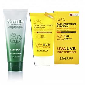 Bộ sản phẩm tẩy da chết tái tạo phục hồi da Centella Cica và Kem chống nắng kiểm soát dầu DAILY UV DEFENSE SUN CREAM