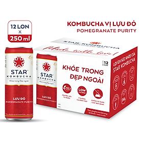 Thùng 12 lon thức uống lên men STAR KOMBUCHA Lựu Đỏ / Pomegranate Purity (250ml/lon)