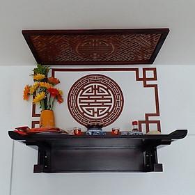 Bàn thờ treo gỗ sồi,  gồm 4 món , ám khói, bộ chỉ viền , và tấm ốp lưng mẫu chữ Thọ